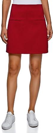 oodji Ultra Mujer Falda con Cremallera y Acabado de Encaje