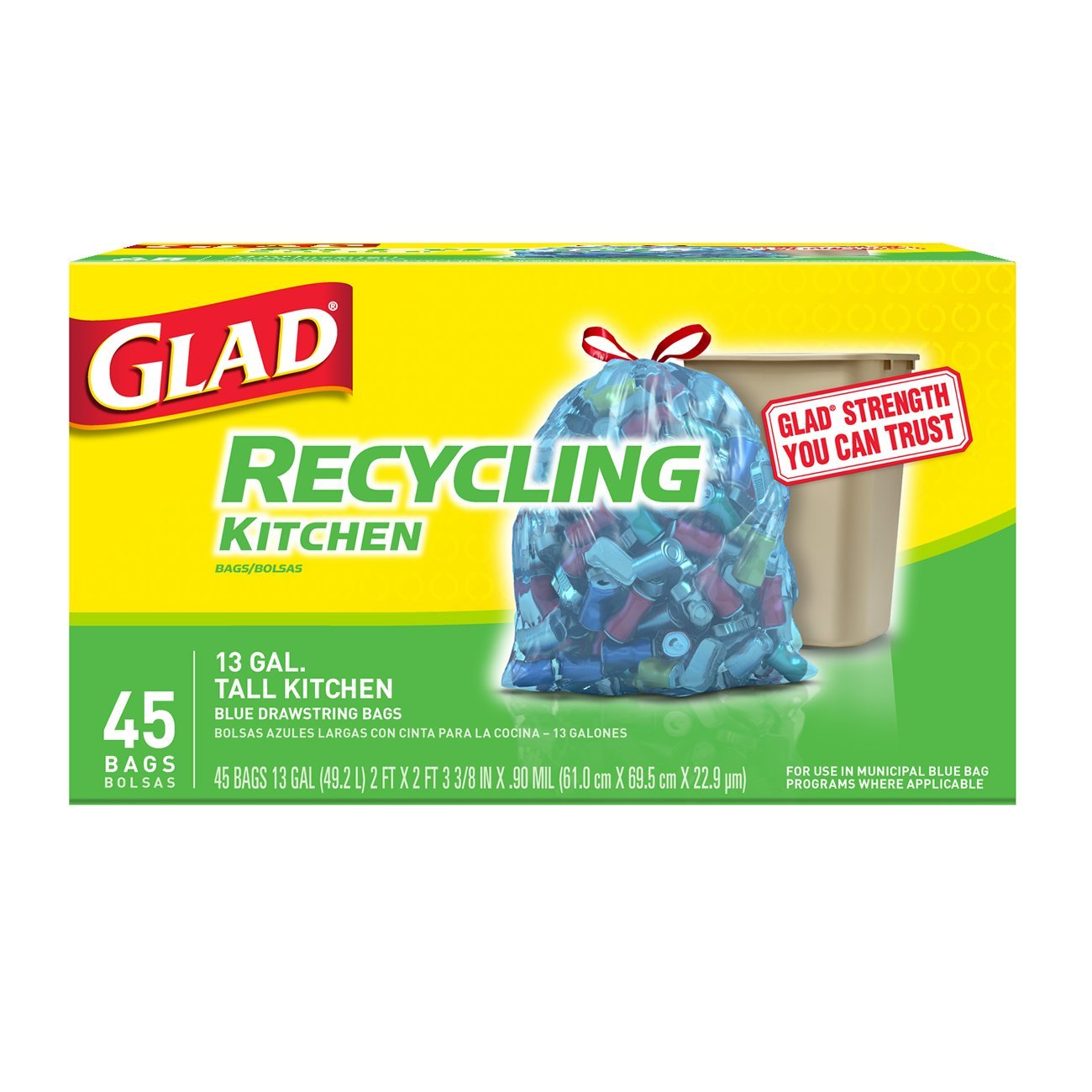 Glad Recycling Tall Drawstring Kitchen Blue Trash Bags - 13 Gallon - 45 Count - 4 Pack (Packaging May Vary)