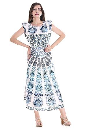 APRATIM Boho Summer Womens Long handblock Beach Dress Cotton Indian Retro Party Maxi