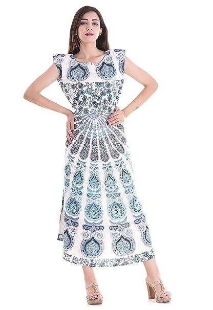98fe470da03 APRATIM Boho Summer Women s Long handblock Beach Dress Cotton Indian ...