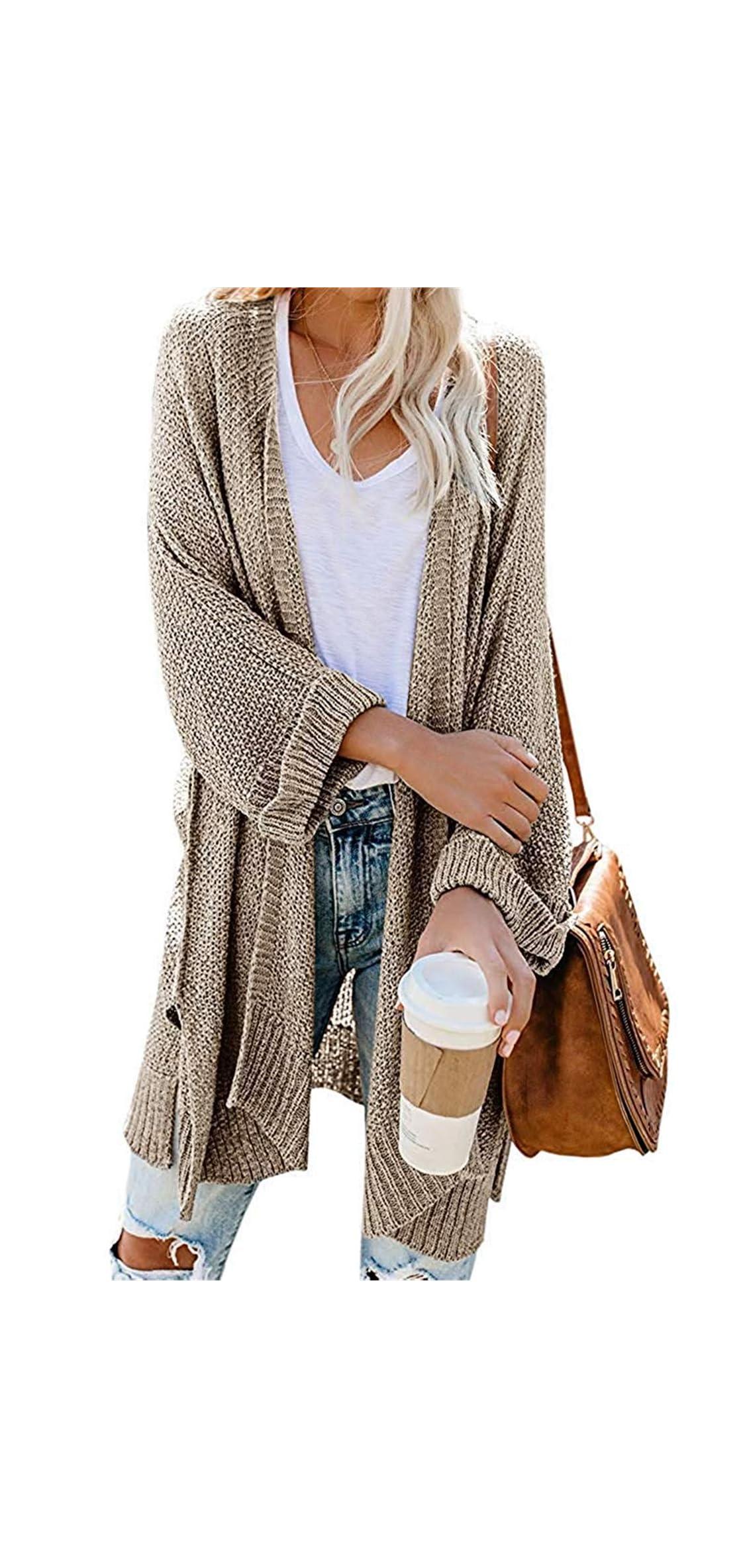 Womens Casual Open Front Kimono Cardigan Sweater Long