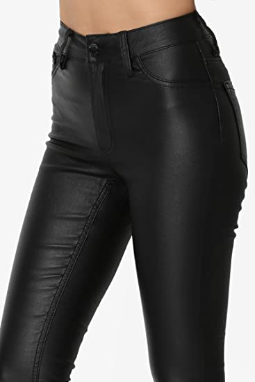 TheMogan Faux Leather High Waisted Skinny Pants Biker Wet Shiny Look Trouser