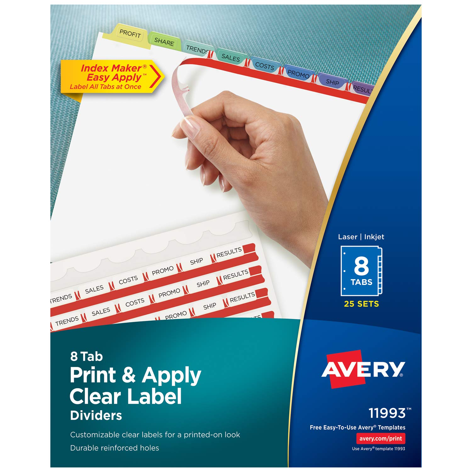 Avery 8-Tab Binder Dividers, Easy Print & Apply Clear Label Strip, Index Maker, Pastel Tabs, 25 Sets (11993)