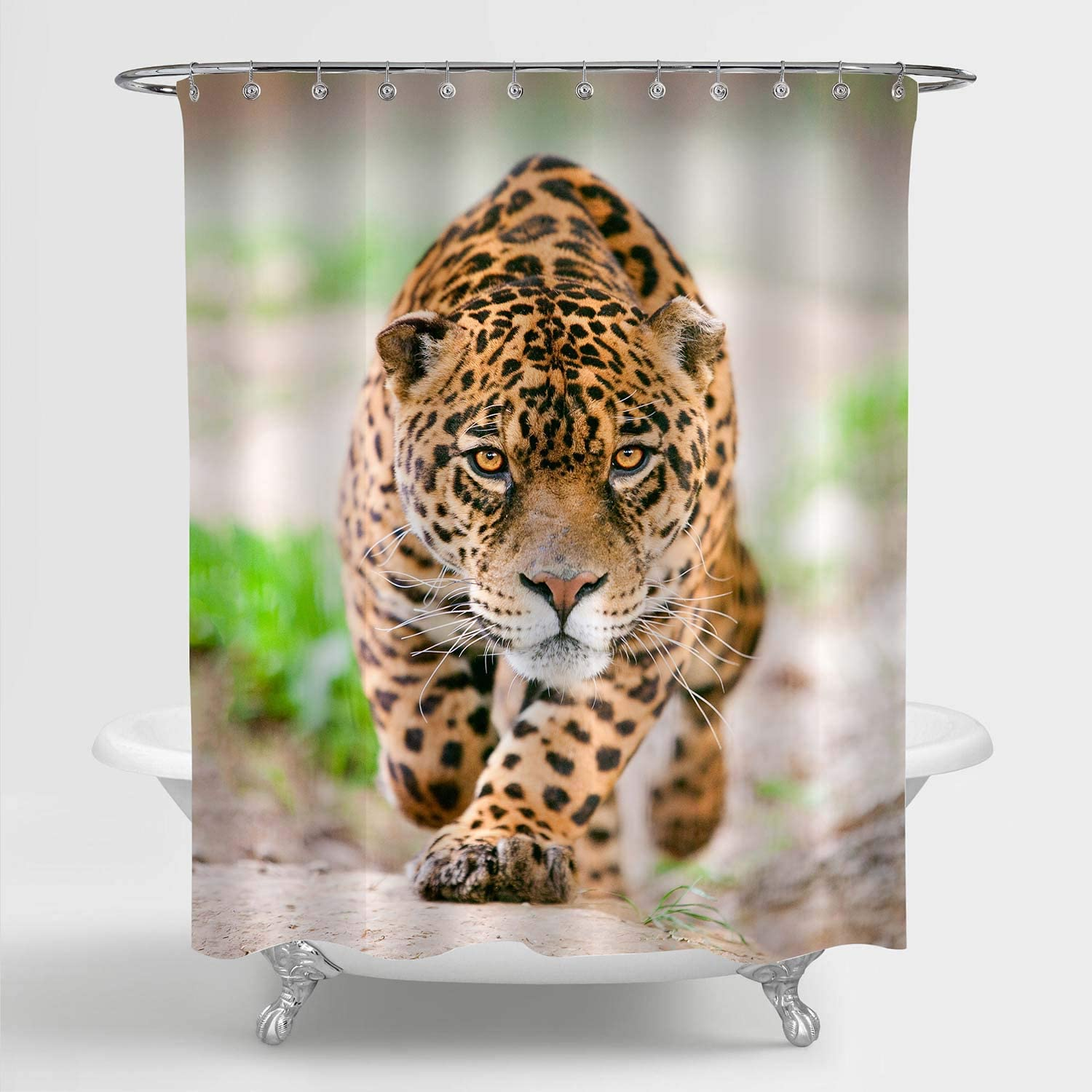 MitoVilla Leopard Shower Curtain for Bathroom Decor, Deadly Wild Male Cheetah Performing an Attack Art Print Bathroom Accessories for Nature Wildlife Theme Home, Gold, 72