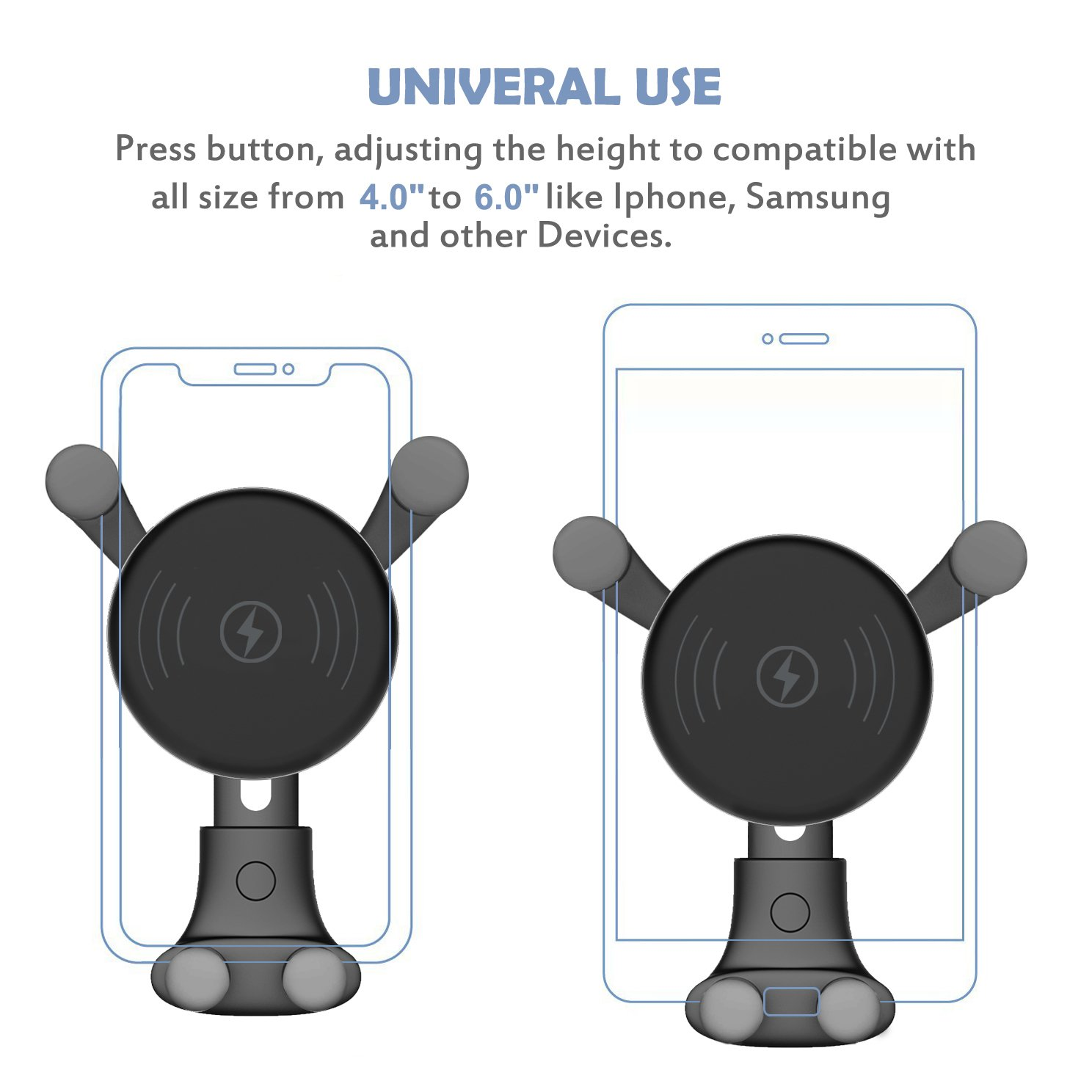 Wireless Fast Car Mount Air Vent Phone Holder 7.5W Compatible for iPhone Xs Max//Xs//XR//X// 8//8 Plus 10W Wireless Car Charger 10W Compatible for Samsung Galaxy S9//S9+//S8//S8+//Note 8