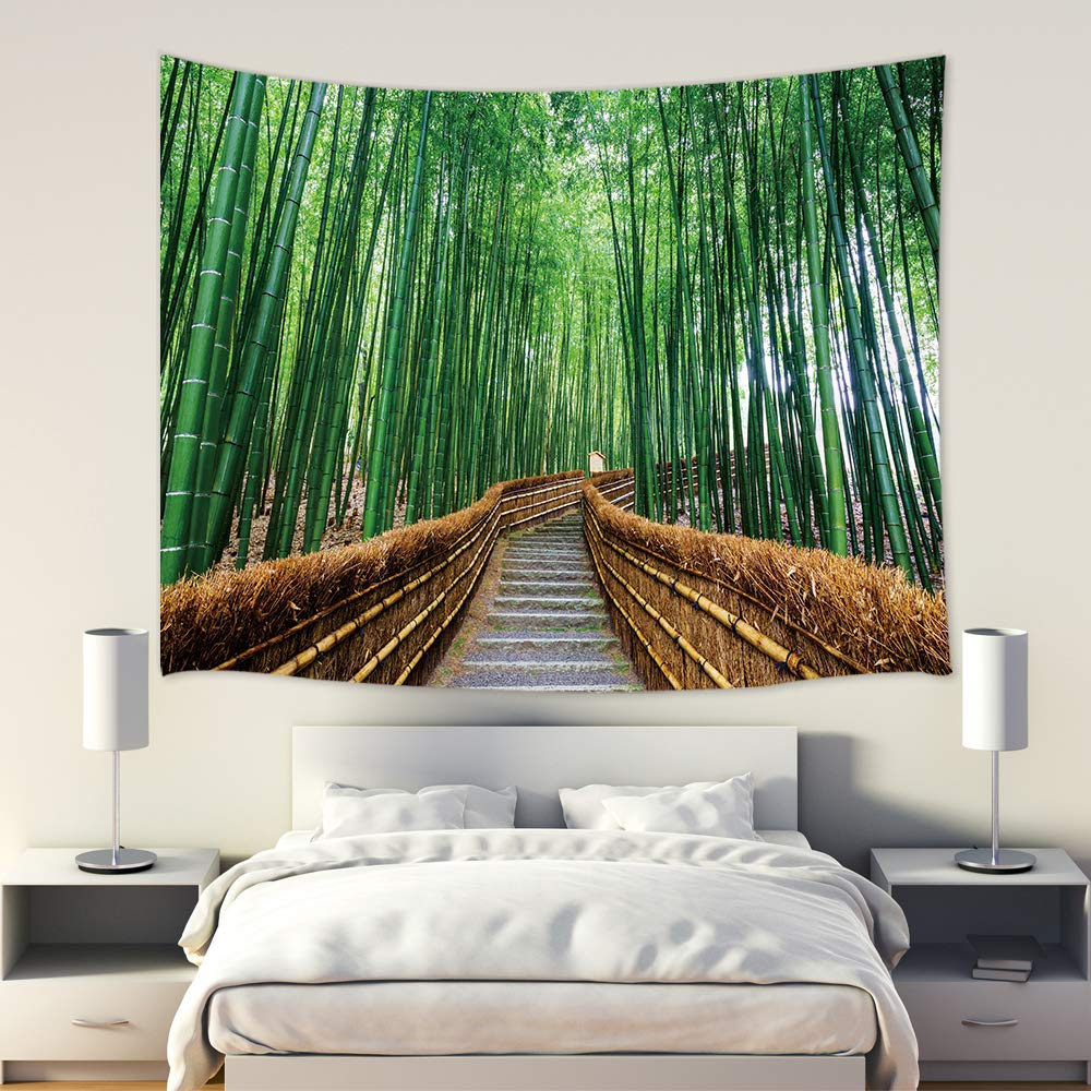 Jawo Zen Bamboo Decor Tapestry Wall Hanging Green Path Forest Park Long Path Road With Stone Steps Polyester Fabric Wall Tapestry For Home Living