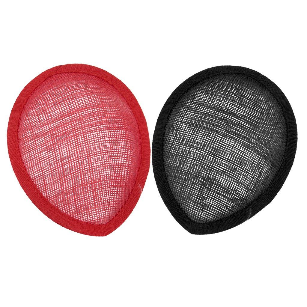 D DOLITY Cappello a forma di lacrima Cappello Fascinator Base di modisteria per cappello artigianale fai-da-te nero e rosso