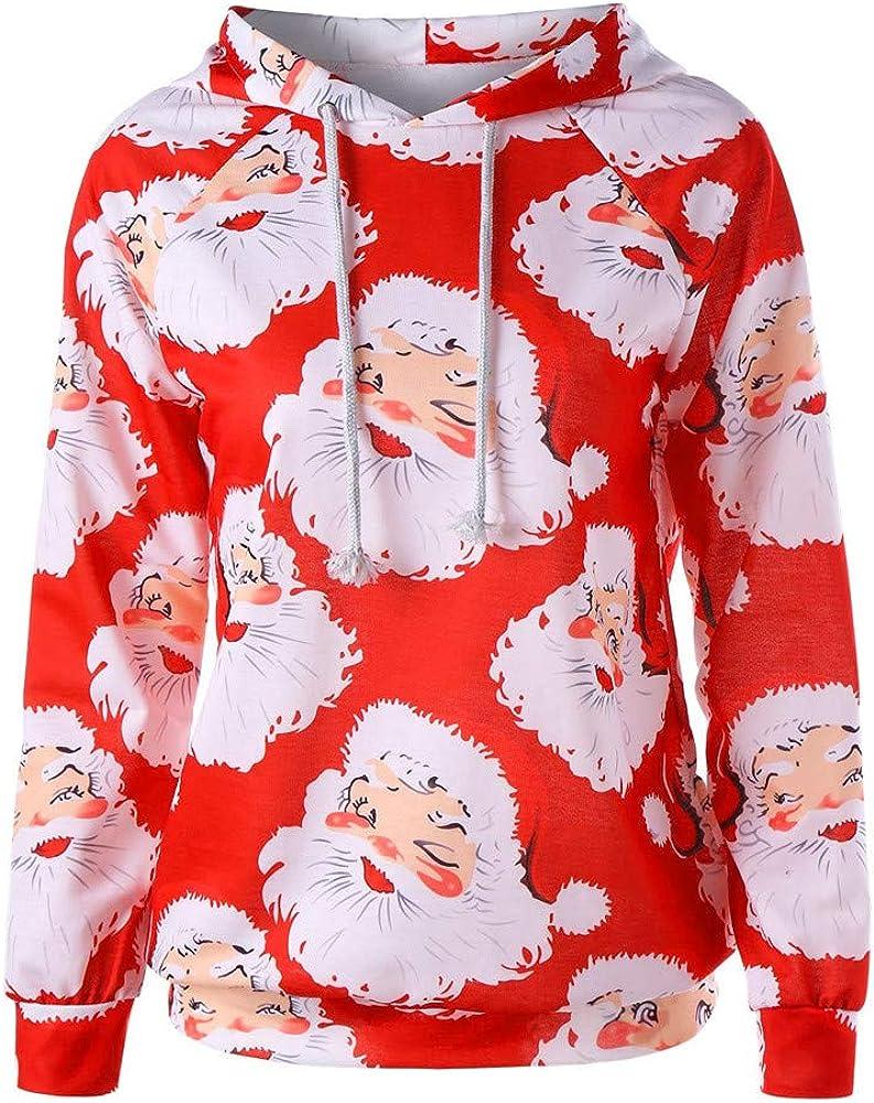 K-Youth 2019 Ofertas Sudadera Mujer Capucha Navidad Papá Noel Estampado Ropa de Mujer Invierno Abrigos Sudaderas Adolescentes Chicas Tumblr Jersey Navidad Mujer Blusa Tops Otoño