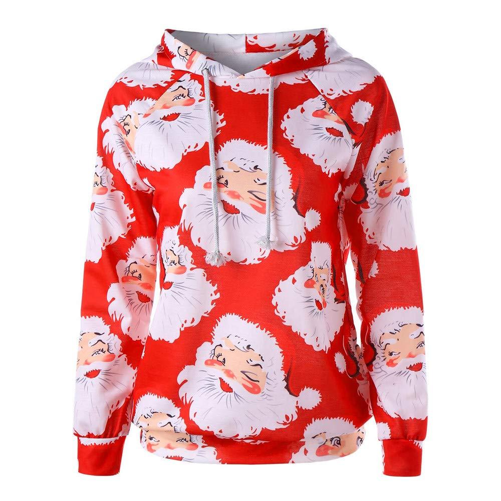 Women's Xmas Tops Yesmile, Women Santa Claus Print Long Sleeve Sweatshirt Autumn Winter CasualDaily Soft Regular Tops Sweatshirt Pullover