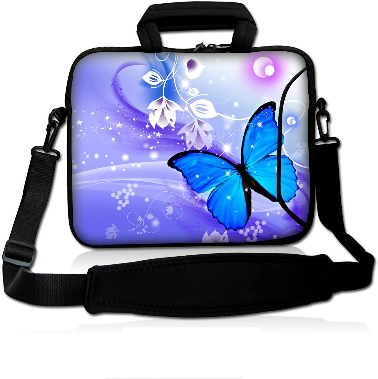 "Blue Butterfly 14"" 14.1"" 14.2"" 15"" 15.4"" 15.6 Inch Laptop Notebook Computer Netbook Soft Shoulder Bag Dual Zipped Neoprene Messenger Bag Case Cover Pouch Holder Pocket - Fshb15-11"