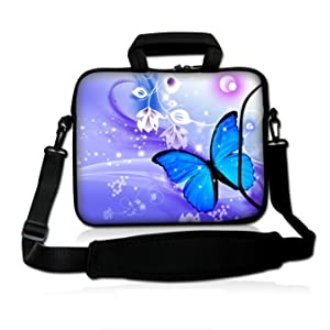 "ICOLOR Colorfulbags Universal Blue Butterfly 13 Inch Laptop Netbook Shoulder Bag Case Messenger Cover with Extra Pocket for iPad and Most 13"" 13.1"" 13.3"" 12.5"" Netbook Tablets"