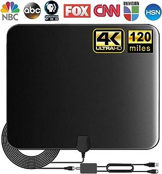 Actualizado 2020] Antena de TV, antena HDTV digital amplificada para interiores, 80 – 120 millas, amplificador de señal de alcance para 4 K 1080p Fire TV Stick canales locales y todos los televisores: Amazon.es: Electrónica