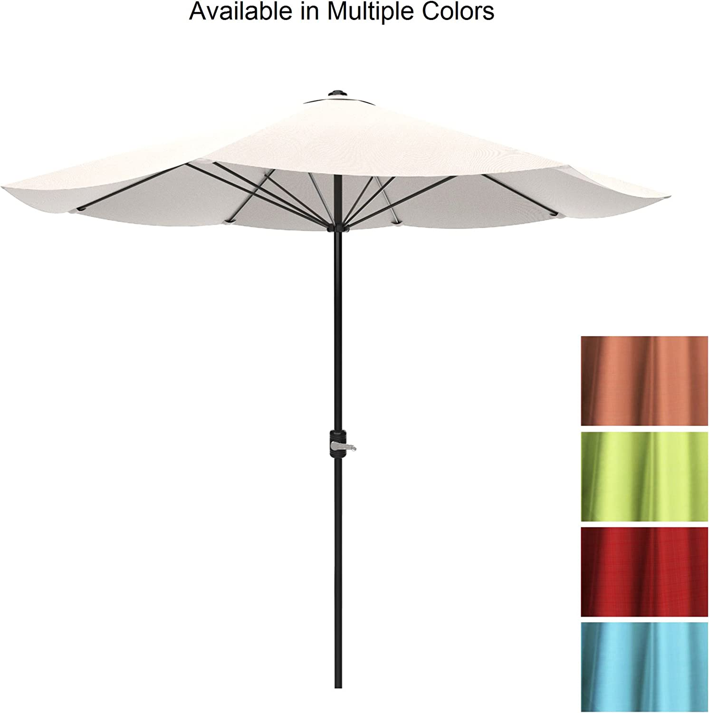 Backyard Poolside Patio Umbrella Balcony 9 Foot by Pure Garden Porch Outdoor Shade with Easy Crank- Table Umbrella for Deck Blue