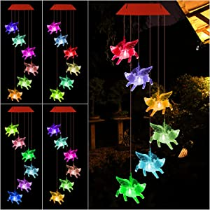 UXORSN Pink Pigs Solar Wind Chime Change Color,Waterproof Led Color Changing Solar Wind Chime Light for Home Party Yard Garden Decor,Gifts for Mom Grandma Birthday Christmas Party Night