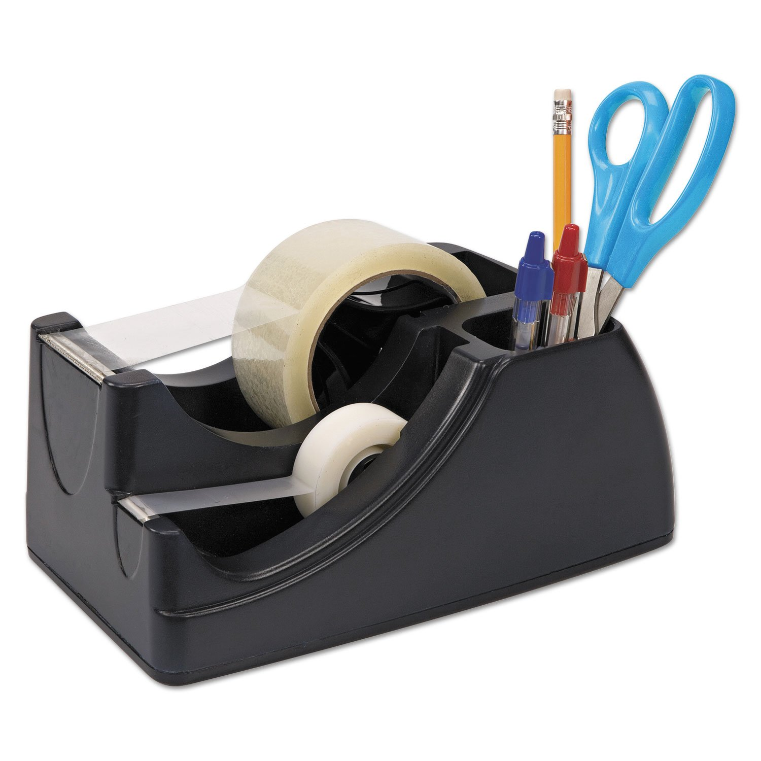 Officemate Recycled 2-in-1 Heavy Duty Tape Dispenser, 1'' and 3'' Cores, Black (96690)