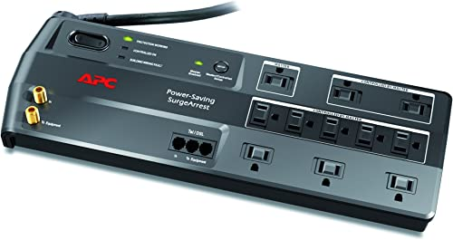 APC 11-Outlet Surge Protector 3400 Joules with Master Controlled Power Outlets and Telephone, DSL and Coaxial Protection, SurgeArrest Performance P11GTV