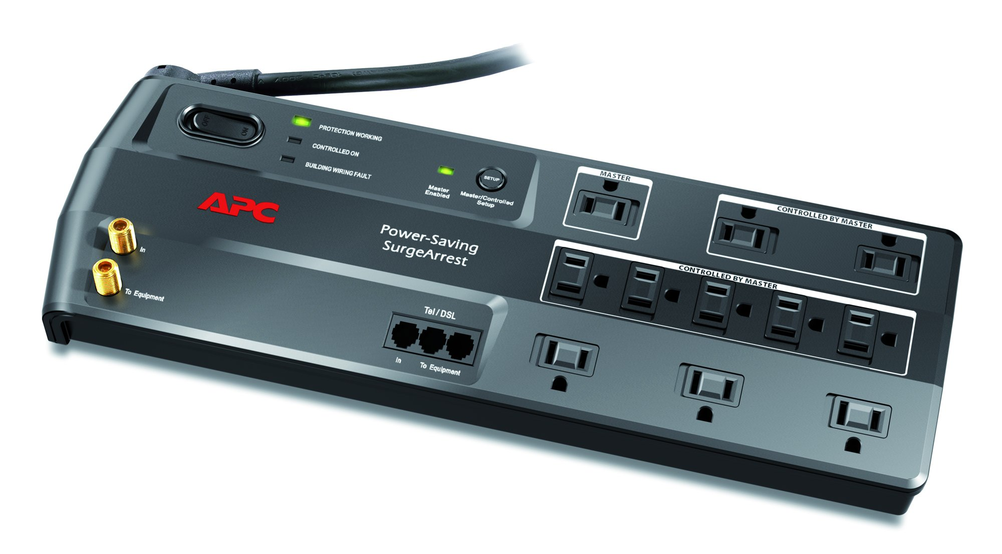 APC 11-Outlet Surge Protector 3400 Joules with Master Controlled Power Outlets and Telephone, DSL and Coaxial Protection, SurgeArrest Performance (P11GTV)