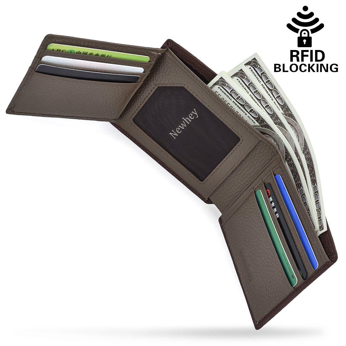 Mens Wallet RFID Blocking Slim Genuine Leather Trifold Credit Card Wallet Brown