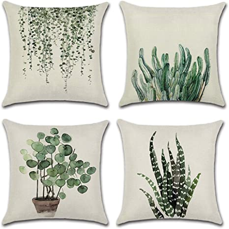 Jahrgang Kissenbezug Geometrische Oval Pflanze Decorativ