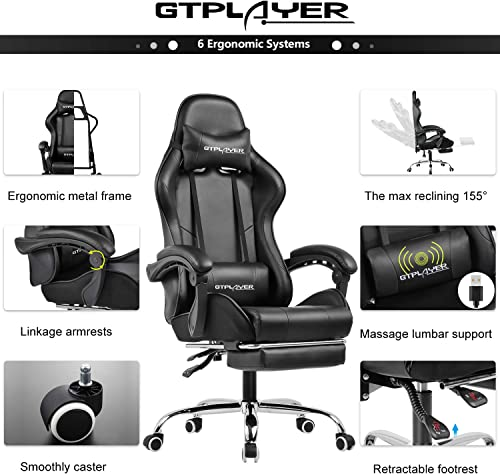 GTPLAYER Gaming Chair with Footrest Ergonomic Massage Office Chair for Adults Black