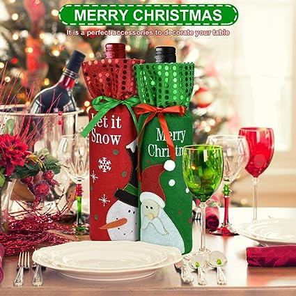 BUZIFU 6 Pezzi Scchetti per Bottiglie Vino Copri Bottiglia di Vino di Natale Sacchetti Portabottiglie Vino con Coulisse Decorazioni per la Tavola da Pranzo per Feste di Natale