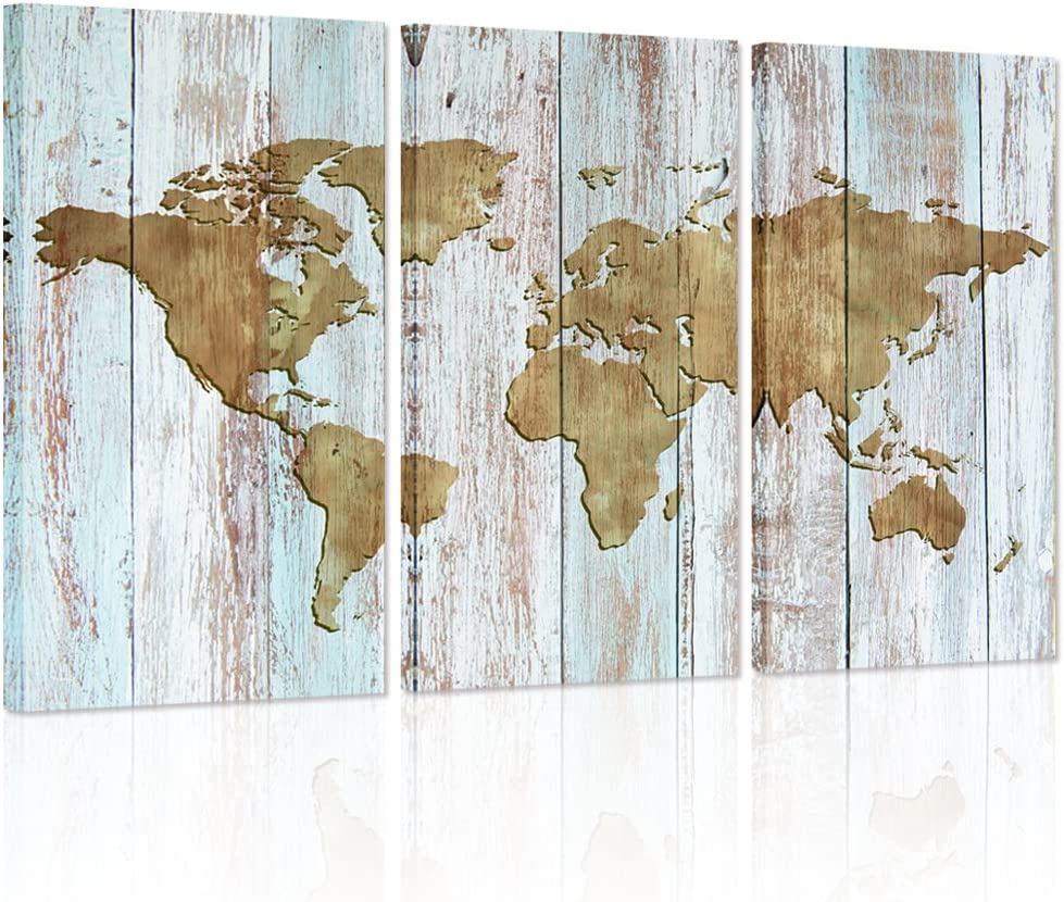 Visual Art Decor Retro Wood Background Vintage World Map Canvas Prints Home Wall Decoration World Map Wall Art Decor (Antique)