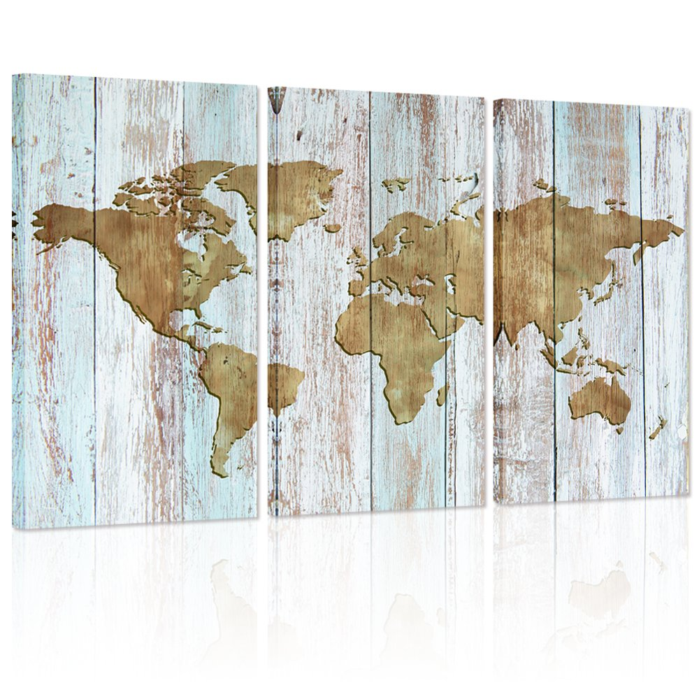 Amazon.com: Large World Map Canvas Art, Vintage map Poster Printed ...
