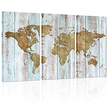 Large World Map Canvas Art,Vintage map Poster Printed on Canvas,Dual View  Wood Background Canvas Art,Map of World Canvas Prints Wall Art,Map Poster  ...
