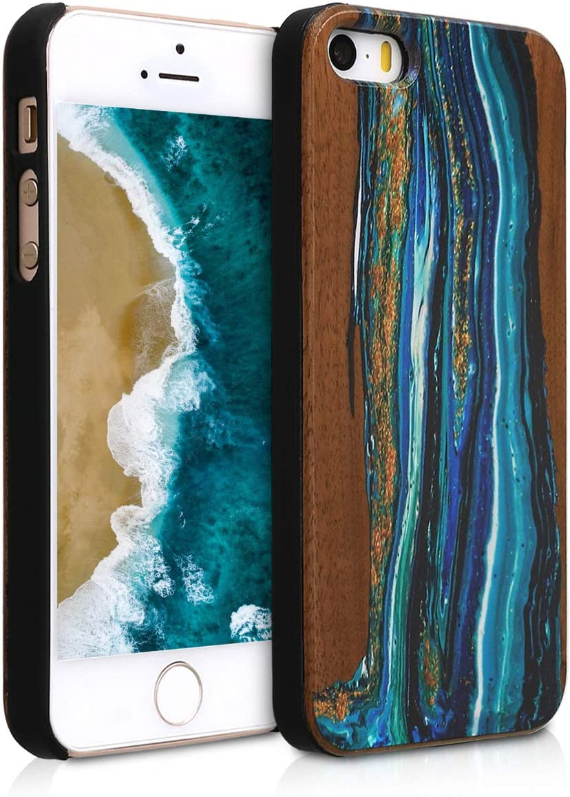 kwmobile Wood Case Compatible with Apple iPhone SE (1.Gen 2016) / 5 / 5S - Non-Slip Natural Solid Hard Wooden Protective Cover - Watercolor Waves Blue/Brown