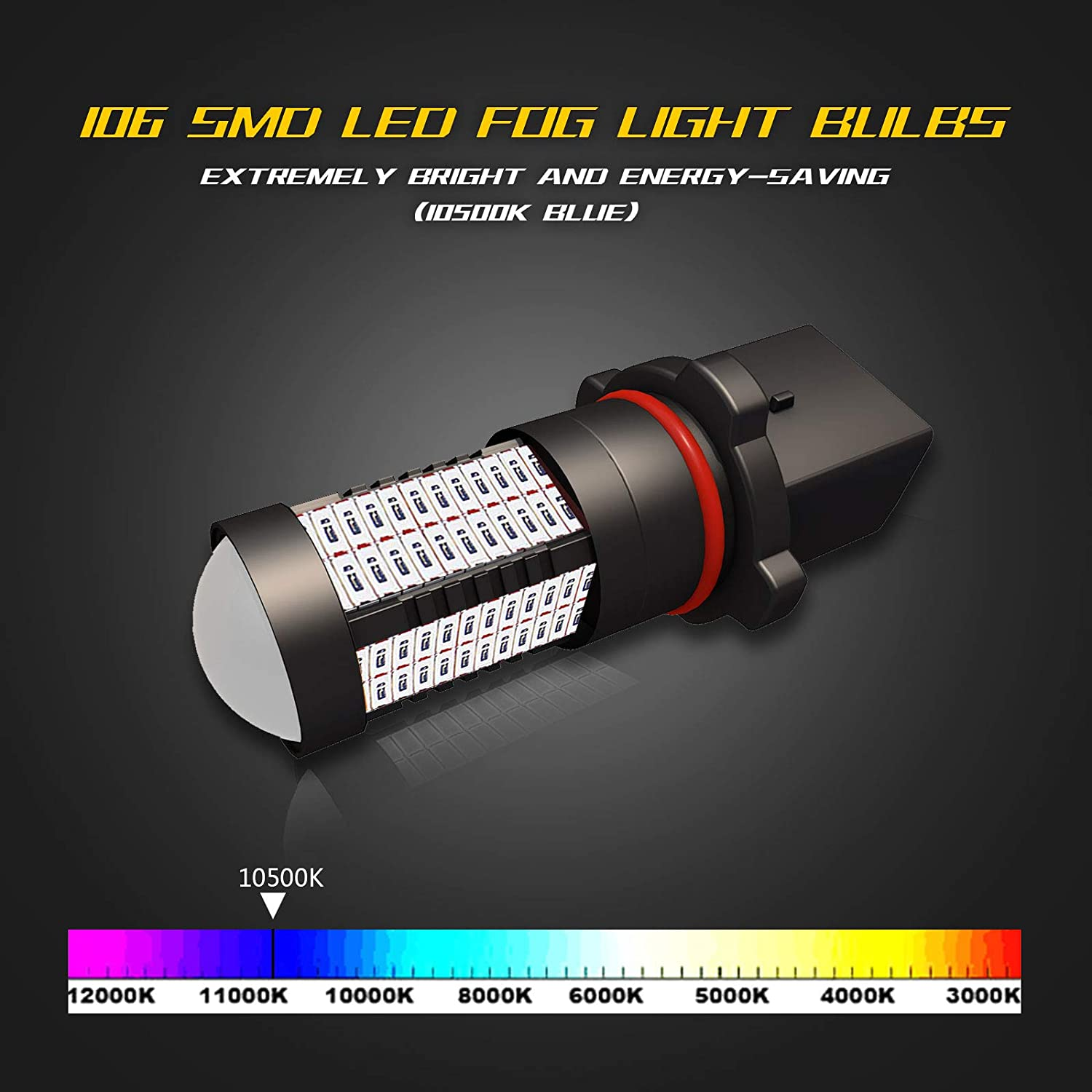 YaaGoo H8 H9 H11 H16JP White LED DRL Driving Fog Light,Replacement of Halogen,360 degree super bright,106pcs LED bulbs