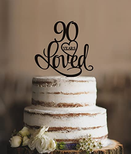 90 Years Loved Cake Topper Classy 90th Birthday Elegant Ninetieth Gift
