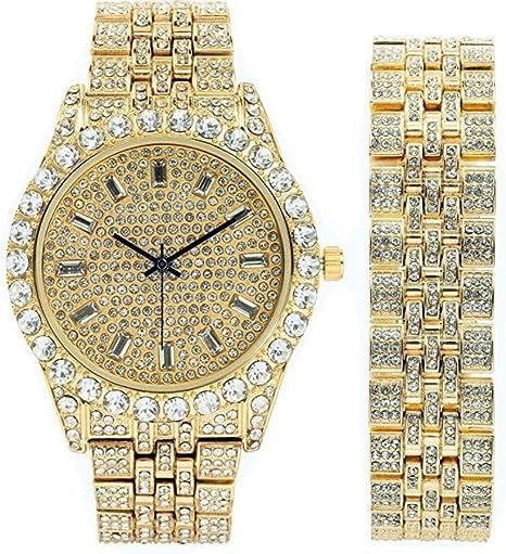Herren Armbanduhr ST10226B Gold mit passendem Iced Out Rolly Hip Hop Look – übergroße Strasssteine am Rand und elegantem Baquette Zeitanzeiger auf