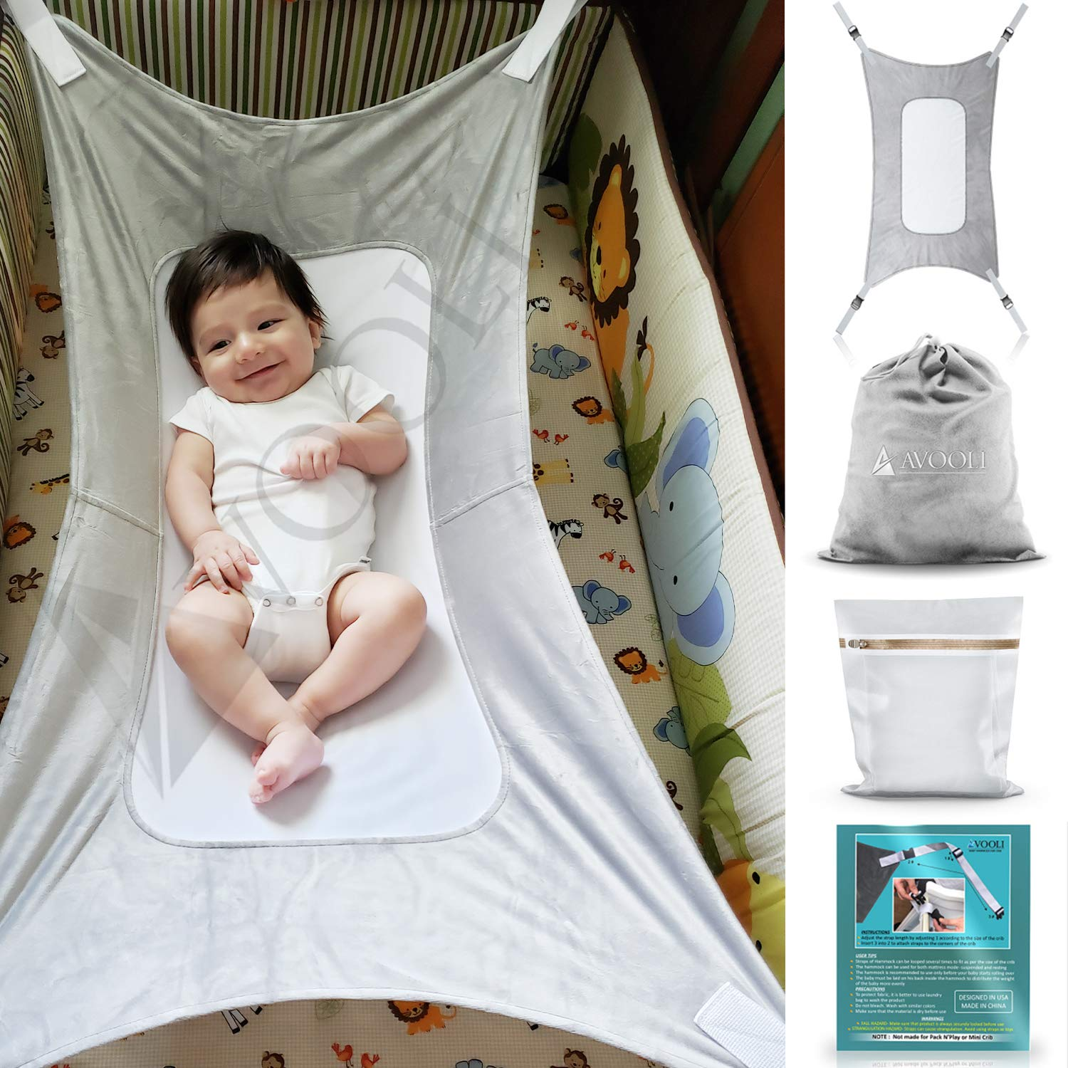 Baby Hammock for Crib with Gift for Newborn Infant by Avooli