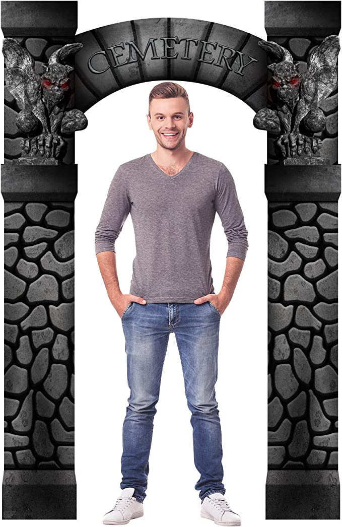 LIFE SIZE STANDUP//CUTOUT BRAND NEW HALLOWEEN PARTY CEMETERY ENTRANCE 2521