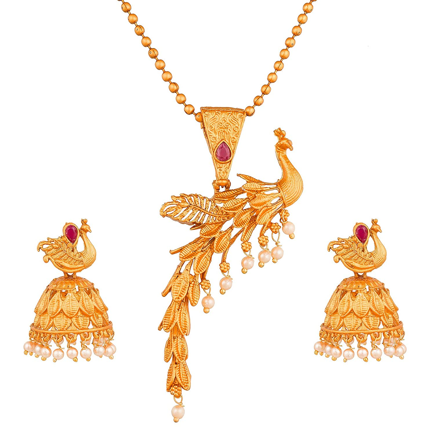 06eb8eea9f6c3e Buy The Luxor Gold Non-Precious Metal Peacock Design Charm Necklace Pendant  Set with Earrings for Women Online at Low Prices in India | Amazon  Jewellery ...