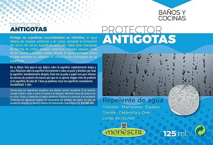 MONESTIR Protector ANTIGOTAS Repelente de Agua Cristales, mamparas, Espejos (125 ML): Amazon.es: Bricolaje y herramientas