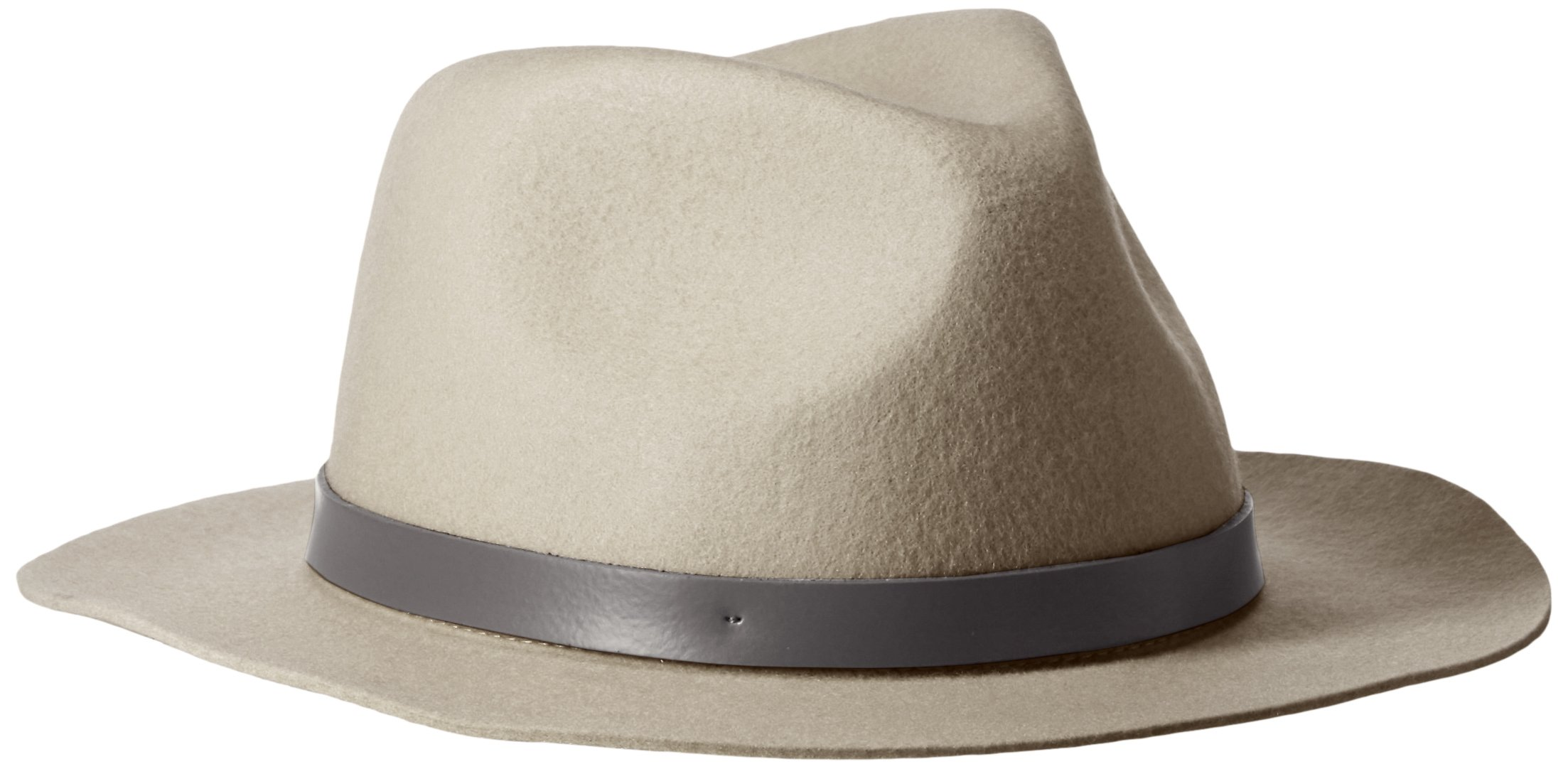 Phenix Cashmere Women's Short Brim Wool Felt Fedora Hat, Dove Grey, One Size