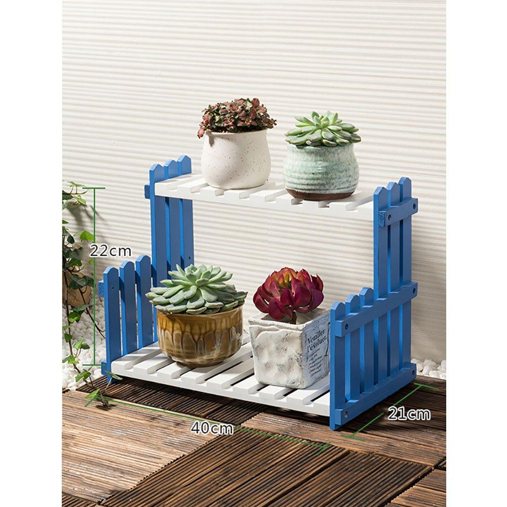 LXLA- ソリッドウッドプランターラダー2段フラワーポットスタンド床置き立て鉢植えのディスプレイシェルフPATIO DECKハーブラックバックヤードホワイトブルー ( 色 : 青 , サイズ さいず : 40×21×22cm ) B07CN639YT 40×21×22cm|青 青 40×21×22cm