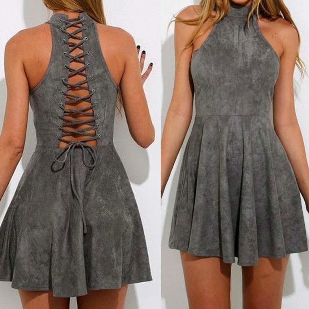 Hot Dress! AMA(TM) Women Summer Sexy Halter Sleeveless Evening Party Backless Hollow Out A-Line Dress (S, Gray) by AMA(TM) (Image #1)