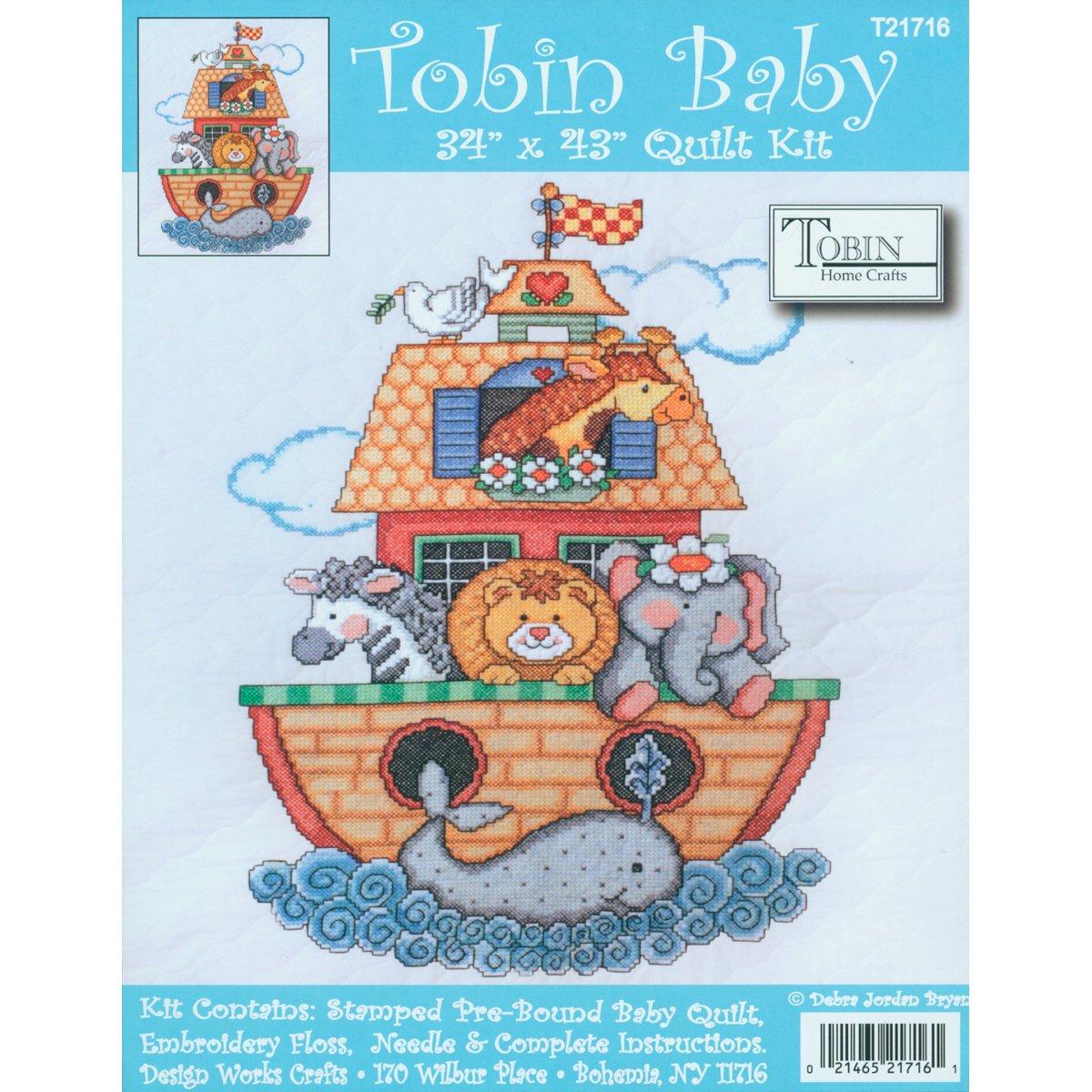 amazon com tobin noah u0027s ark quilt stamped cross stitch kit 34 by