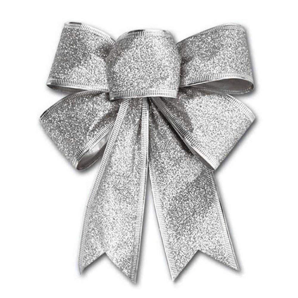 CHDHALTD 10 Pack Christmas Bow for Santa Decorations, Gifts & Presents Wrapping, Hanging Door Decor with Wire, Christmas Tree, Party Supply (Silver)