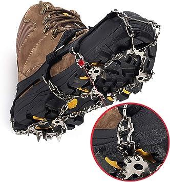 Ramponi Tacchetti da Ghiaccio Trazione Manopole Antiscivolo Spigoli in Acciaio Inossidabile 19 Proteggi Sicuro per Escursionismo Pesca Camminate Arrampicata Alpinismo