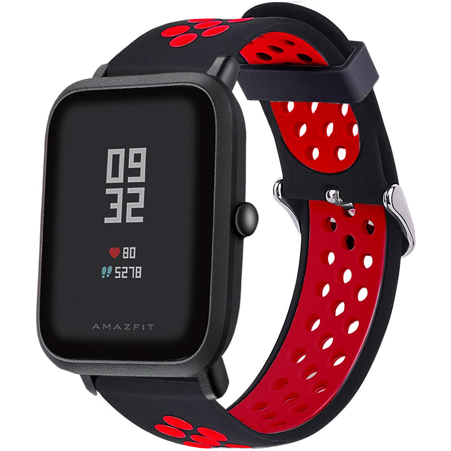 LitoDream Compatible Amazfit Bip Band, 20mm Silicone Soft Band Wristband Replacement Straps for Xiaomi Huami Amazfit Bip Younth SmartWatch Black/Red, ...