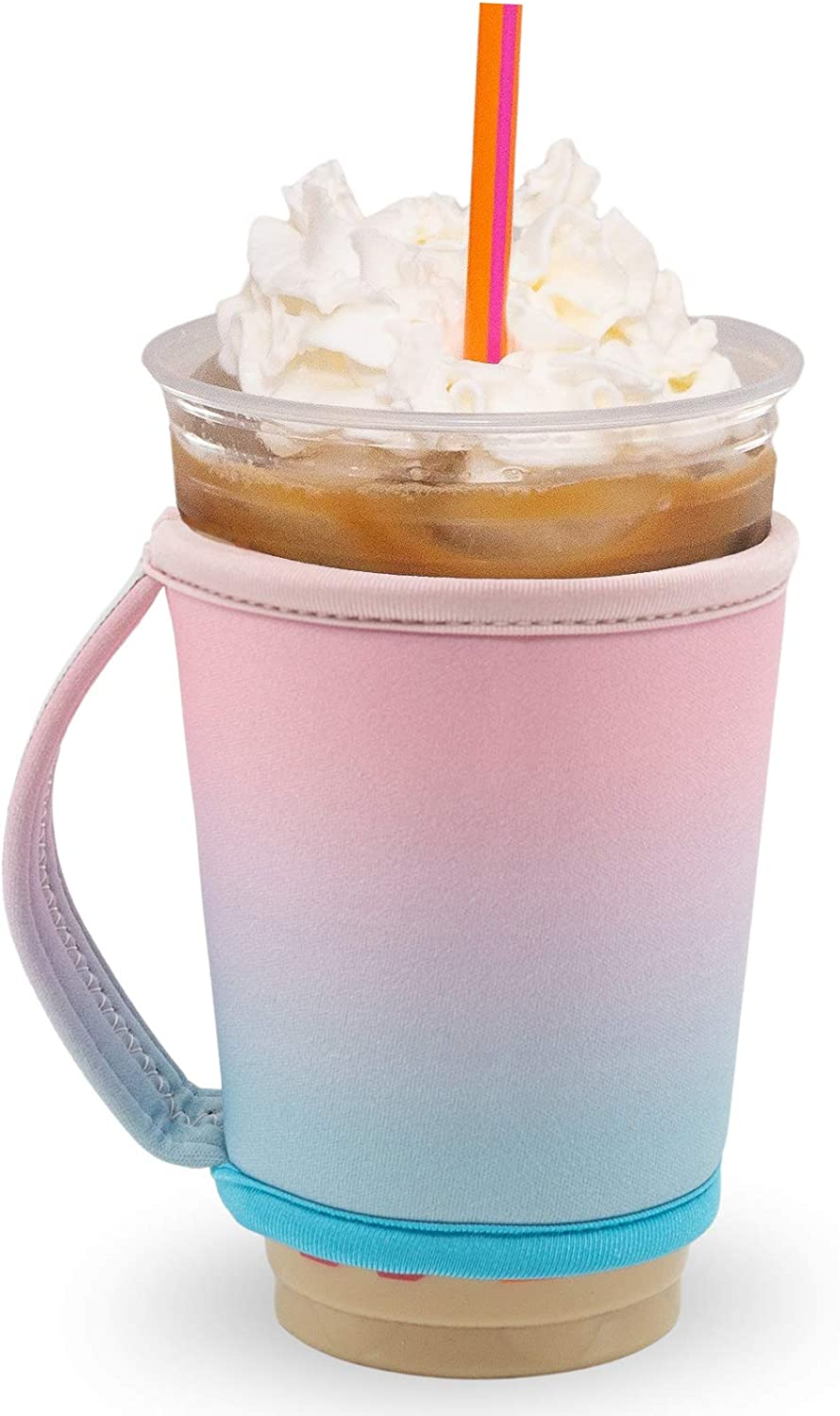 GoCuff Reusable Hot and Iced Coffee Cup Insulator Sleeve with Handle for Beverages and Neoprene Holder for Starbucks, McCafe, Dunkin Donuts, More (Medium, Large) (Cotton Candy Ombre)