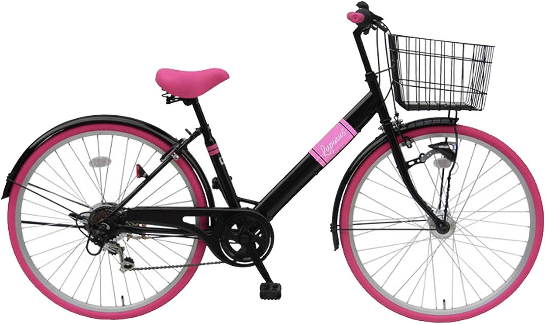 Lupinusルピナス 自転車 26インチ LP-266VTA シティサイクル LEDオートライト シマノ製外装6段ギア カラータイヤ 100%完成車 ブラック×ピンク