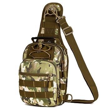 qutool Canvas táctico asalto mochila Militar Messenger Bag Bolsa de pecho hombro Crossbody Bolsa Mochila tamaño mediano, mujer hombre, CAGreen: Amazon.es: ...