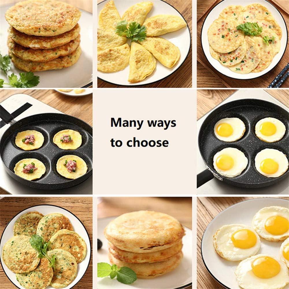 Cuisine Maifanite Antiadh/ésifs Petit D/éjeuner Maker Moule Rond Pot pour Cuisini/ère /à Induction 4 Trous Egg Frying Pan