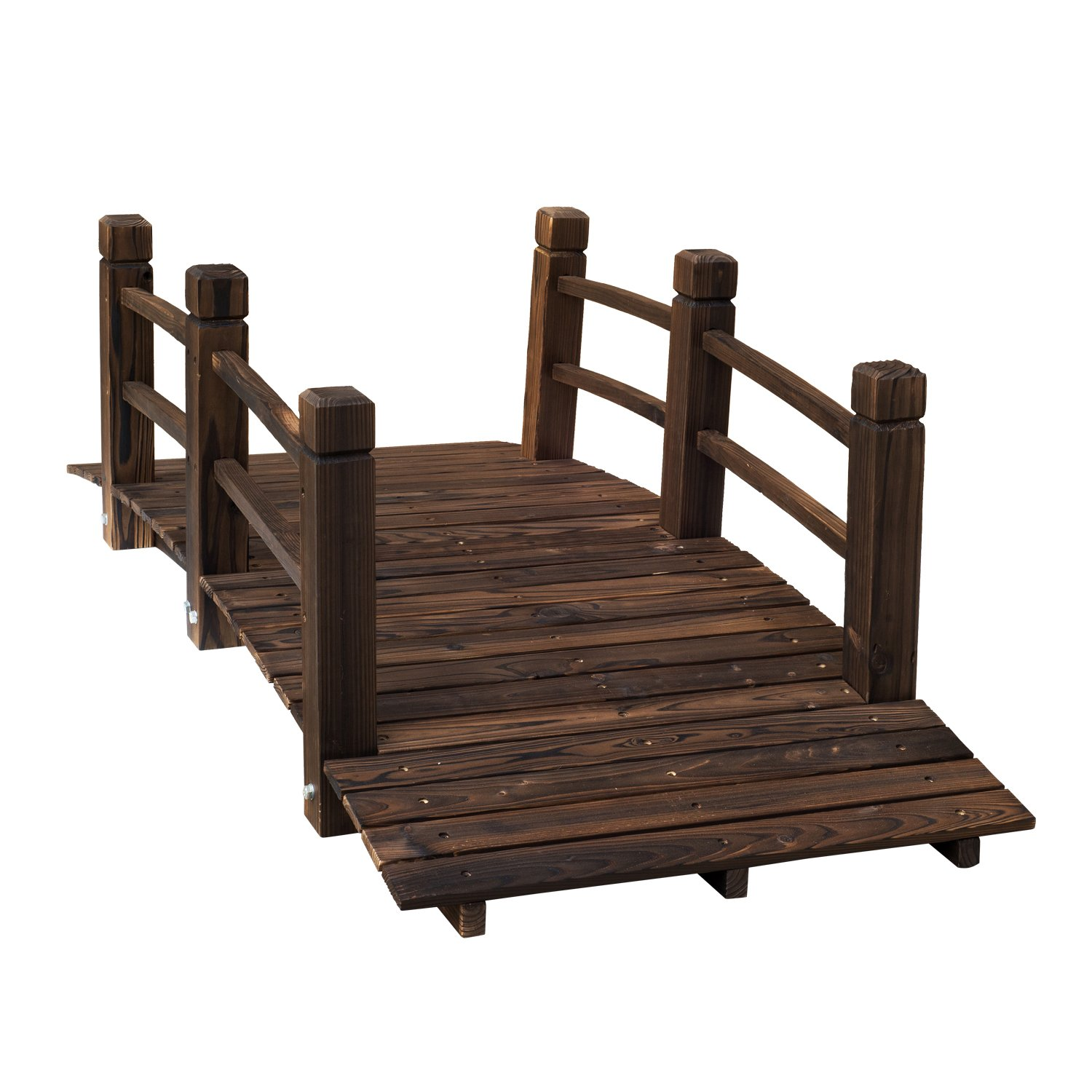 Outsunny 5' Wooden Rustic Arched Garden Bridge with Railings - Stained Wood