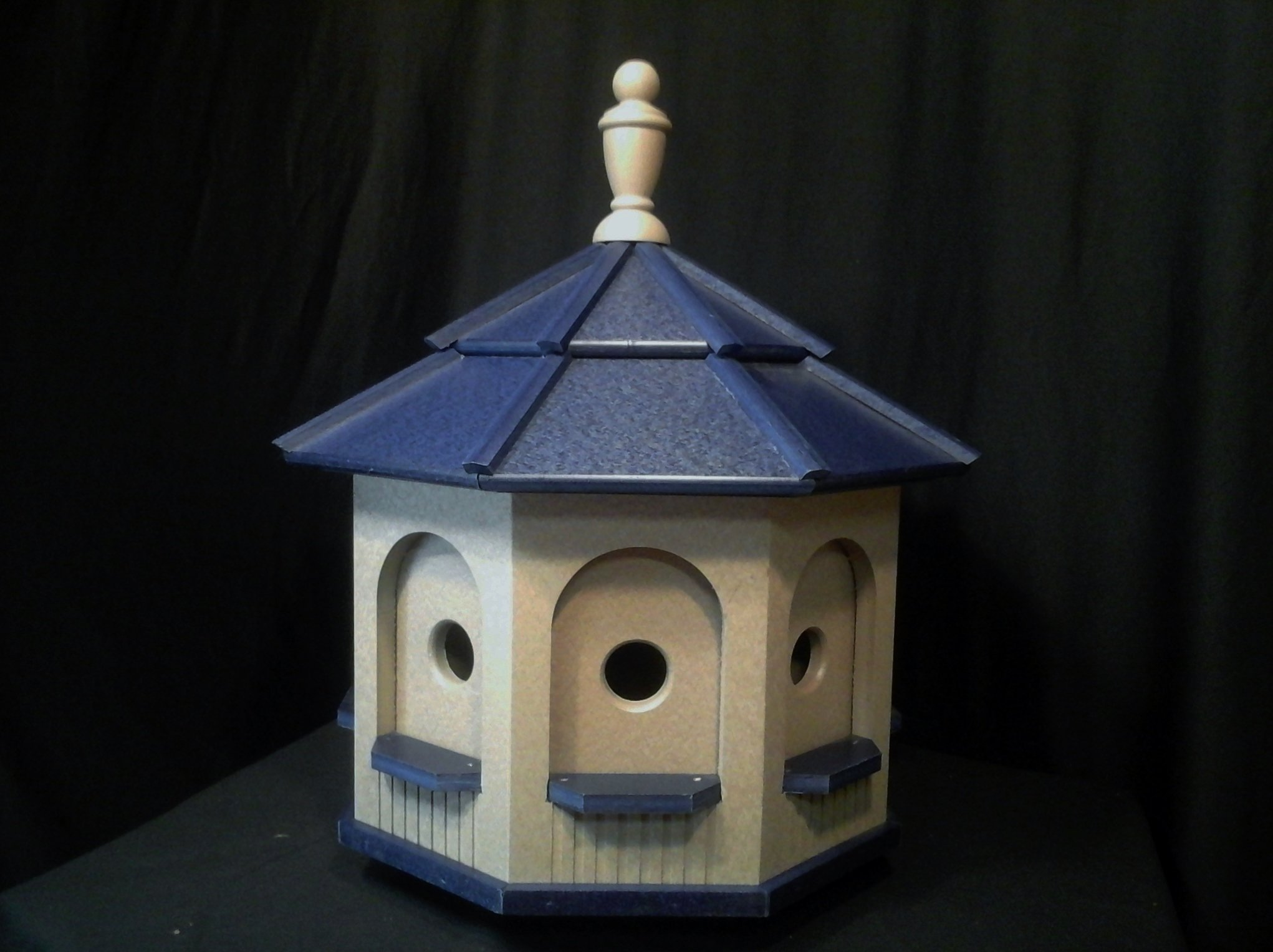 Large Poly Handcrafted Handmade Homemade Birdhouse Garden Clay & Blue Roof