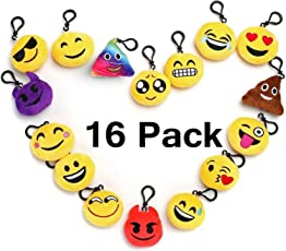 """Emoji Keychain Party Favors For Kids, 16 Pack 2"""" Mini Emoji Plush Pillows For Party Decorations, Kids Party Supplies Goody Bags Fillers"""